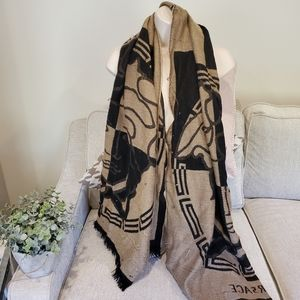 Authentic Versace wool large scarf shawl